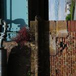 Backsteinwand, Blechfensterlden blaugrau, Blümchen als Schmuck.