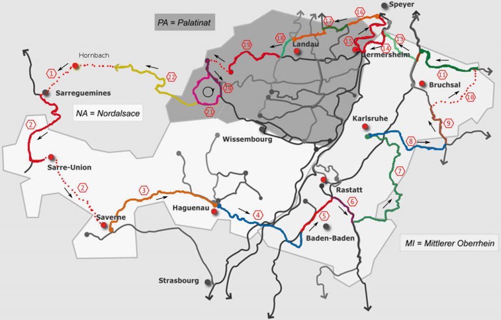 Eine Landkarte des Paminaraums Pfalz, Nord Elsass und Baden. 600 Kilometer Rundkurs an den Grenzen auf ausgewiesenen Radwegen,