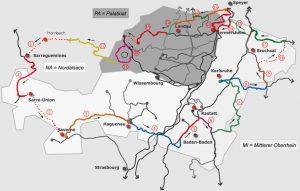 Eine Karte des Paminalands mit markierter Radroute an den Grenzen des Raums Pfalz (PA) Mittlerer Oberrhein (MI) und Nordelsass (NA)